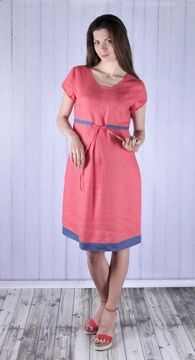 Длинное льняное платье для беременных 119