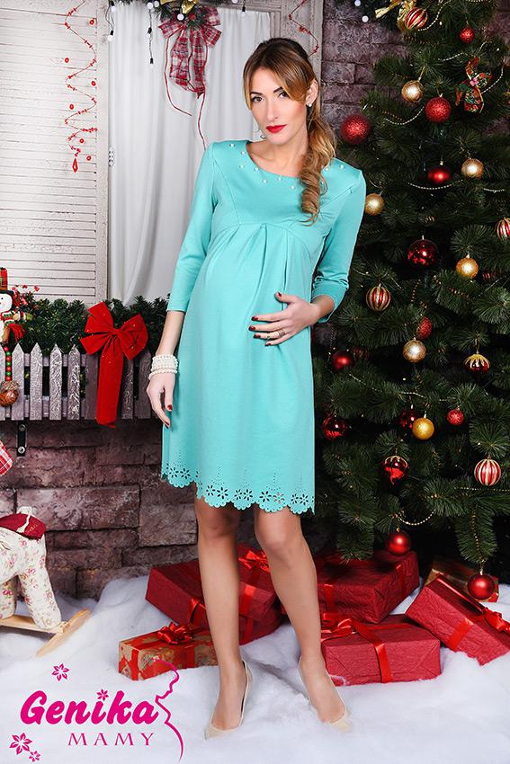 66d66cacae3c Подробнее Изящное платье для беременных и кормящих с фигурным прорезным  рисунком мята