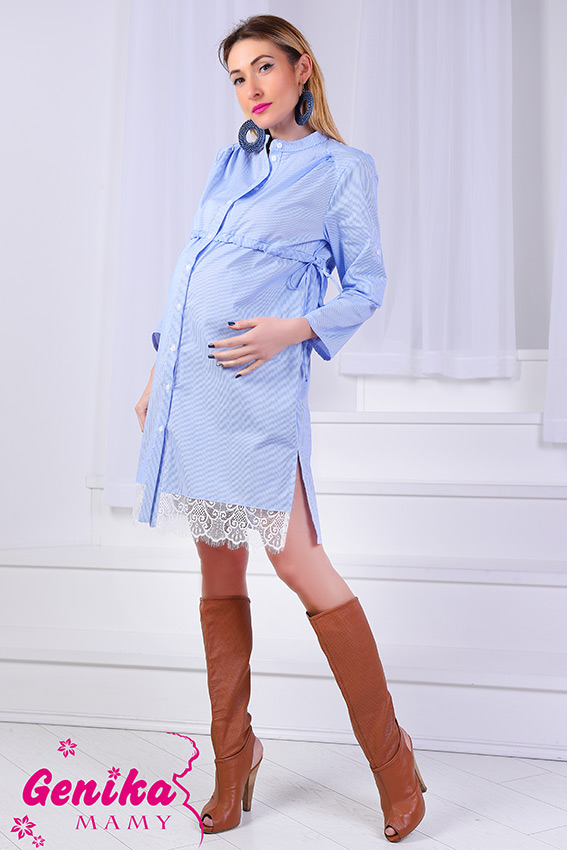 1082b31284b1 Подробнее Платье-рубашка для беременных, кормящих и после с французским  кружевом