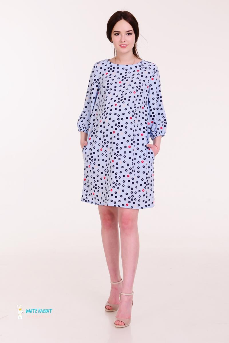 fb247fbd9597 Подробнее Милое платье для беременных и кормящих Marta цветные круги на  голубом фоне