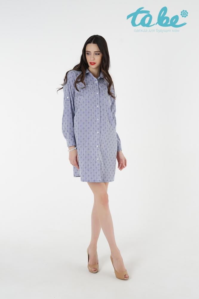5cfd486815520b7 Приталенное платье-рубашка для беременных из принтованной рубашечной ткани