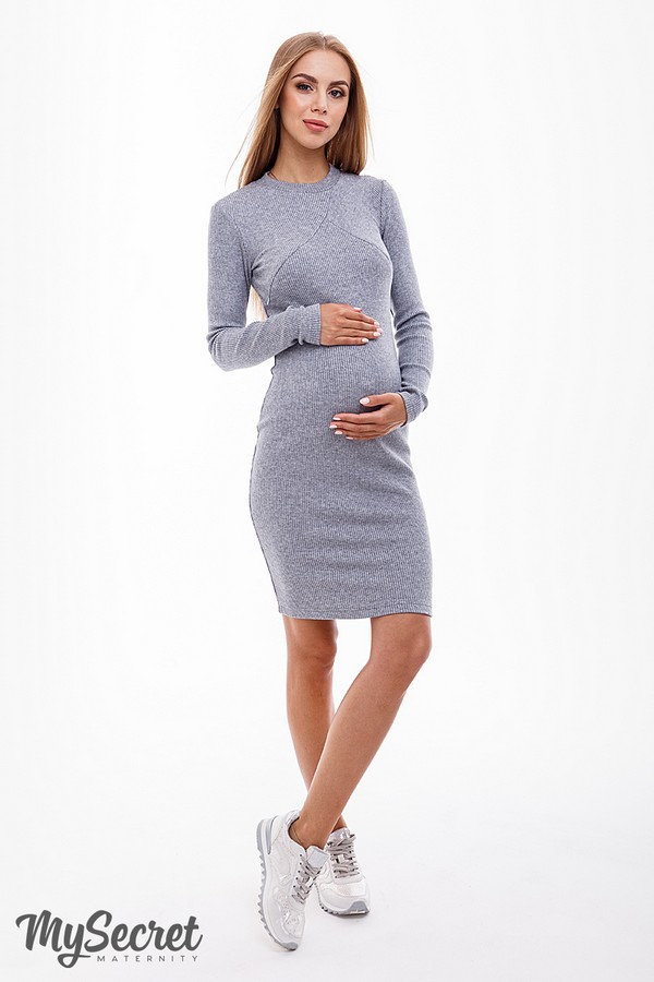 3142c2f197fa Подробнее Платье для беременных и кормящих Marika серый меланж