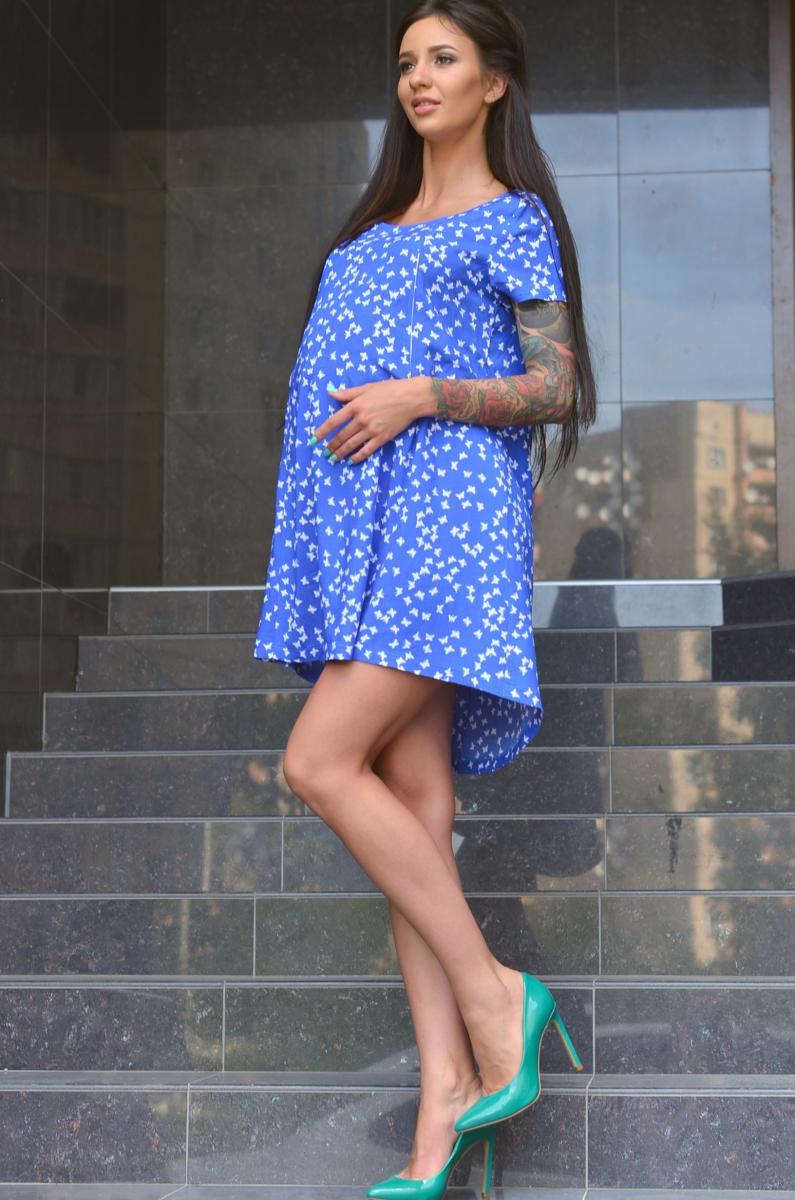 4665971d64cdc4e Легкое летнее платье для беременных и кормящих бабочки на синем Размер M