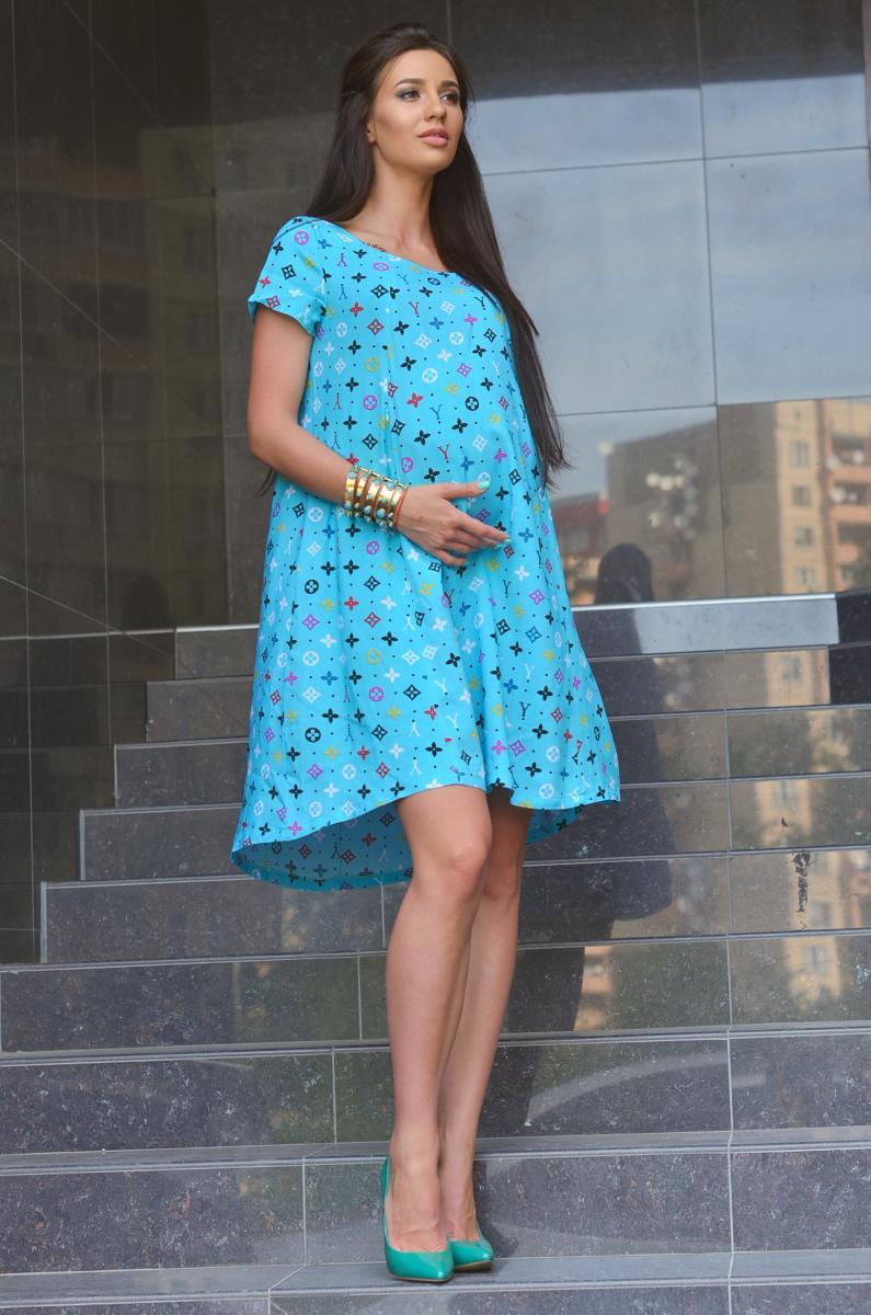 Легкое летнее платье для беременных и кормящих бирюза   ОДЕЖДА ДЛЯ ... 173f18e18db