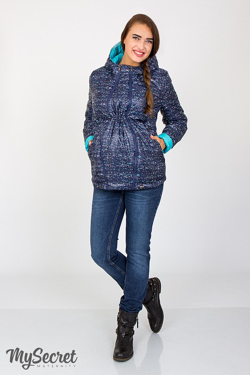 Демисезонная двухсторонняя куртка для беременных Floyd меланжевый принт +  аквамарин ac1a3a5e0fe