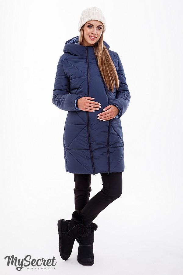 Зимнее теплое пальто для беременных, слингоношения и после Angie синее (без  слинговставки) 6ce519cd7fb