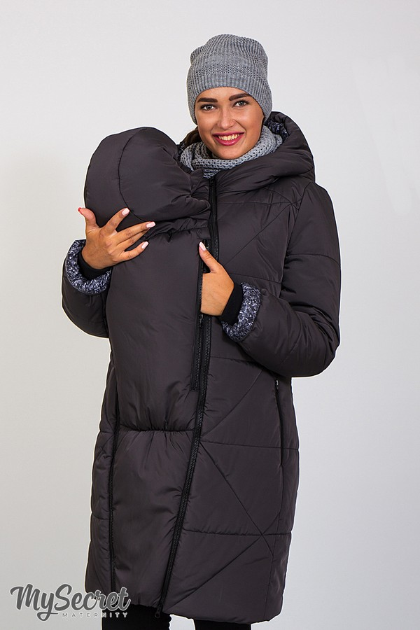 Зимнее теплое пальто для беременных, слингоношения и после Angie plus графит 98e35f725a0