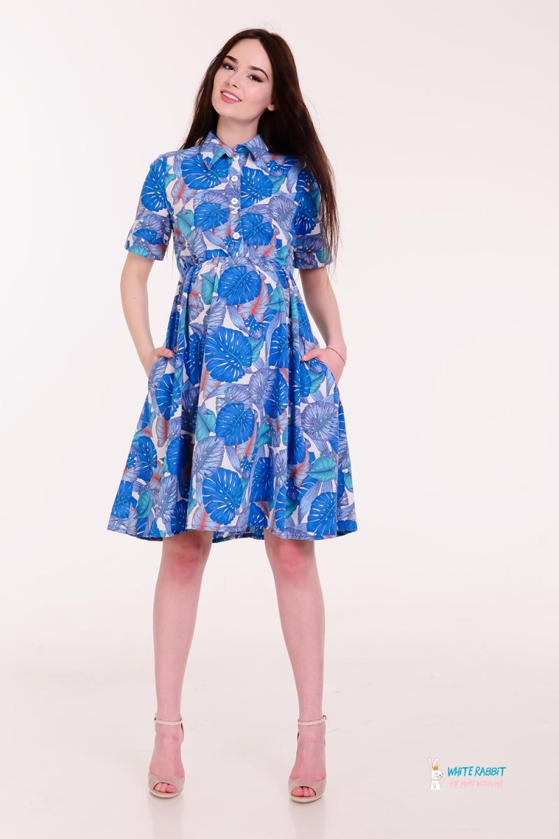 18acb502c5a Воздушное платье для беременных и кормящих Penny ярко-синие листья на  молочном фоне