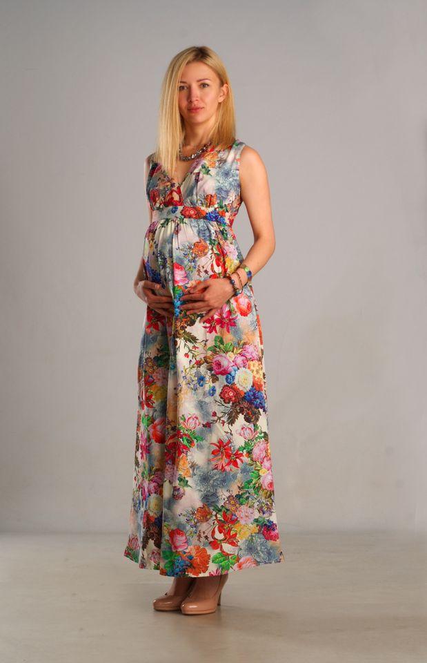 f2fbe5c33eb Длинное летнее платье для беременных и после с нежным цветочным узором на  сером фоне