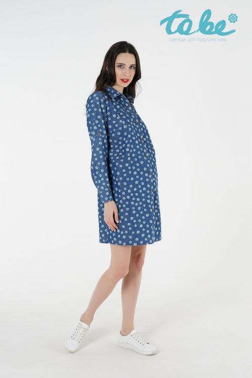 ca758c7be5dfff0 Приталенное платье-рубашка для беременных джинсово-синее / ОДЕЖДА ...