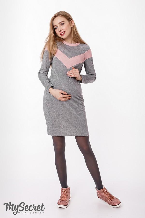 50c2d233817 Стильное и теплое платье для беременных и кормящих Blando серый с розовым