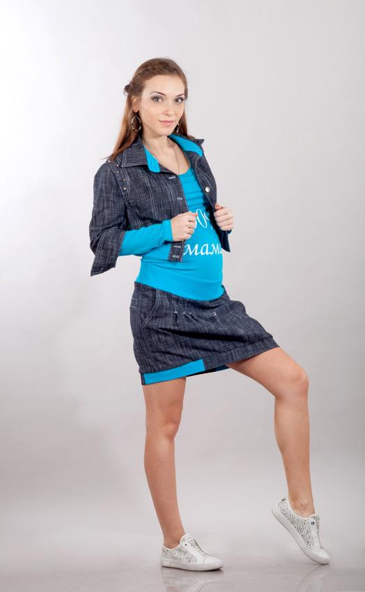 Джинсовая куртка для беременных с отделкой из трикотажа бирюза ... a8cc9210dfa